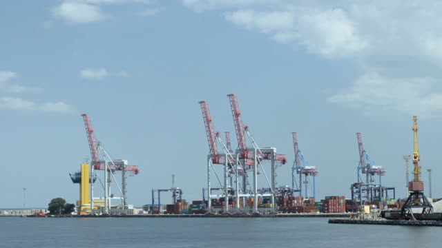 sea port with containers. timelapse video