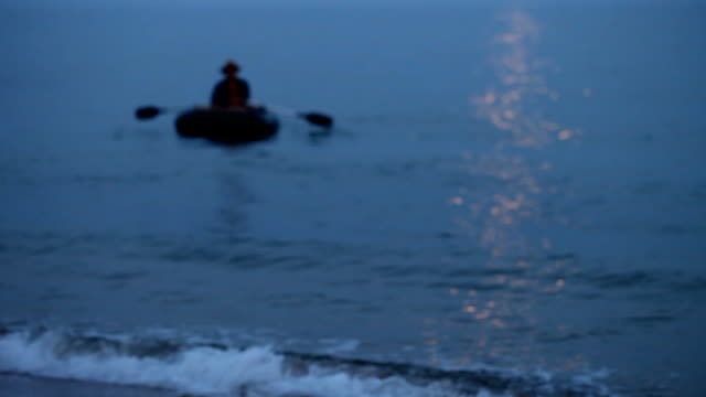 Sea, rubber boat, dawn, fishing video