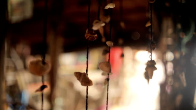 Sea shells on a string swaying at house video