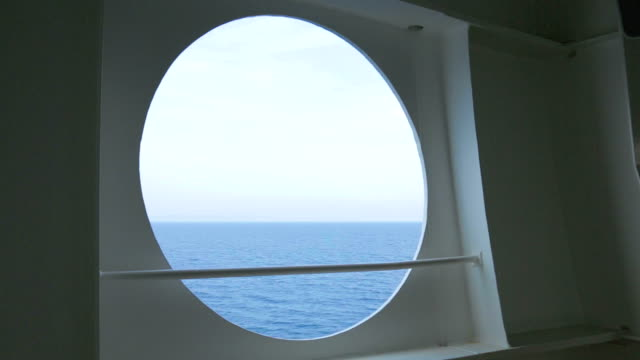 HD Sea slow motion on cruiseship porthole video