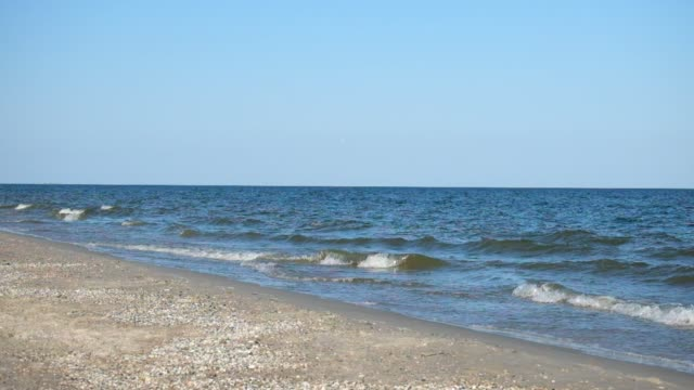 Sea surf. Sea waves smoothly roll onto the sandy shore. Black Sea video