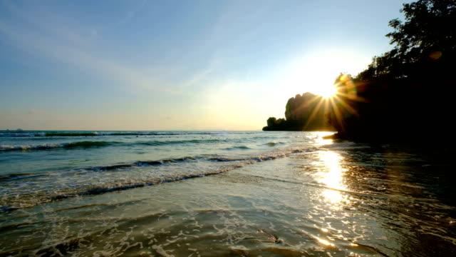 Sea tide in sunset light at Railay beach, Krabi, Thailand video