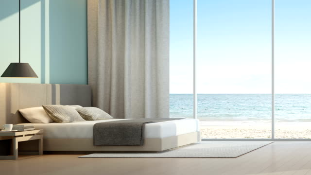 Sea view bedroom in luxury beach house video