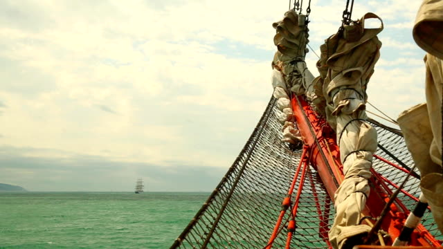 sea view from the bowsprit of an old sailing ship video