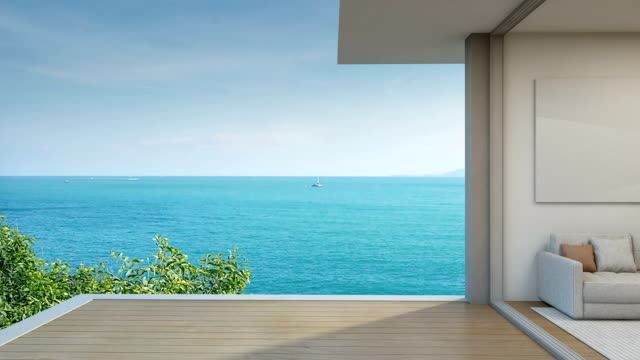 Sea view living room in modern beach house, Terrace of luxury hotel
