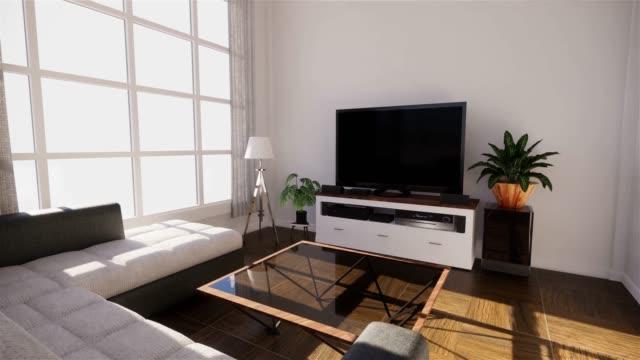 vídeos de stock e filmes b-roll de sea view living room in modern beach summer home. 3d rendering - mesa mobília