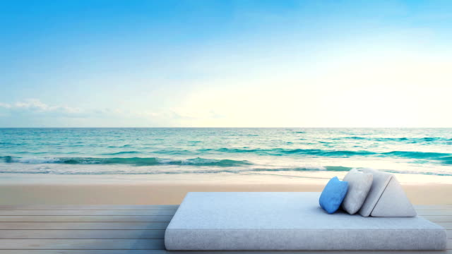 meerblick-terrasse mit bett von luxus-strandhotel - urlaubsort stock-videos und b-roll-filmmaterial
