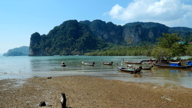 meerblick mit traditionellen langschwanzbooten - indochina stock-videos und b-roll-filmmaterial