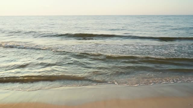 Sea water's edge in sunset time. video