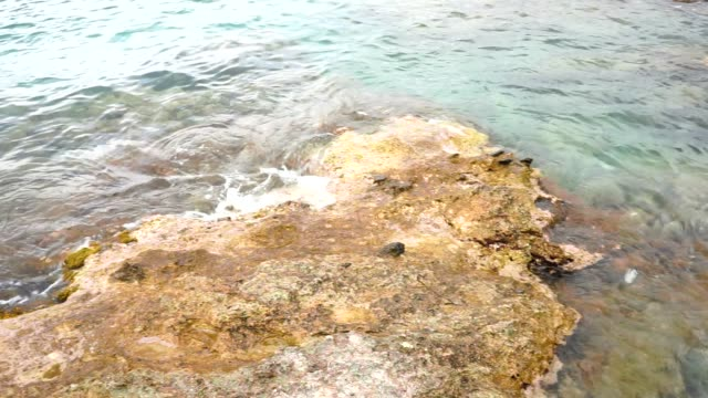 Sea waves and rock shore  on Greek island Crete. video