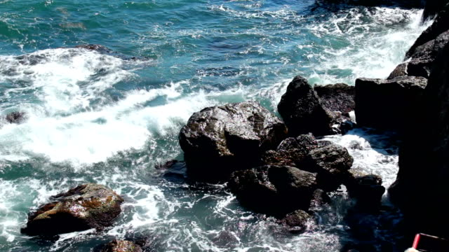 Sea waves breaking on the rocks. video