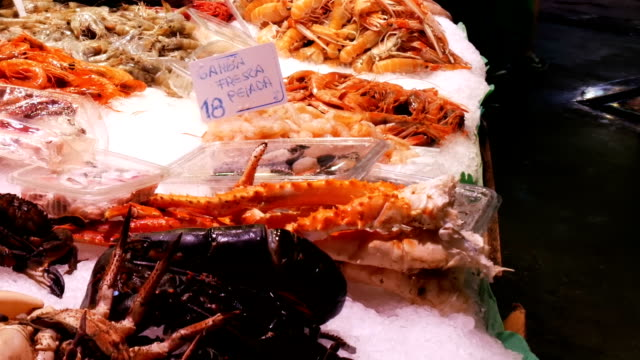 Seafood crabs lobster squid shrimps crayfish oyster mussels seashells in fish market on ice La Boqueria Spain, Barcelona video