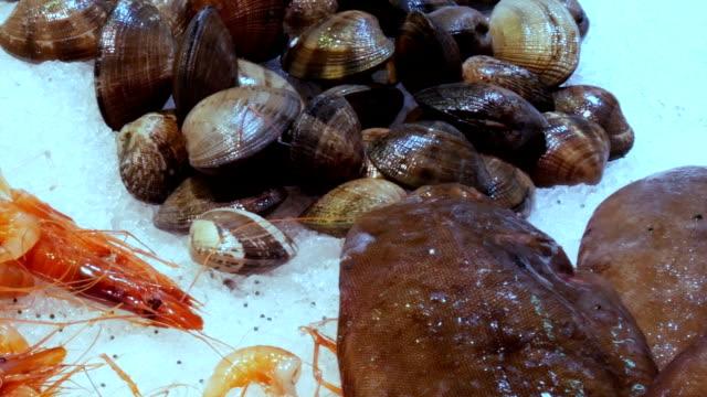 魚介類カニ オマール海老イカ エビ ザリガニ カキ ムール貝貝殻氷ラ ボケリア スペイン、バルセロナの魚市場で - 動物の身体各部点の映像素材/bロール