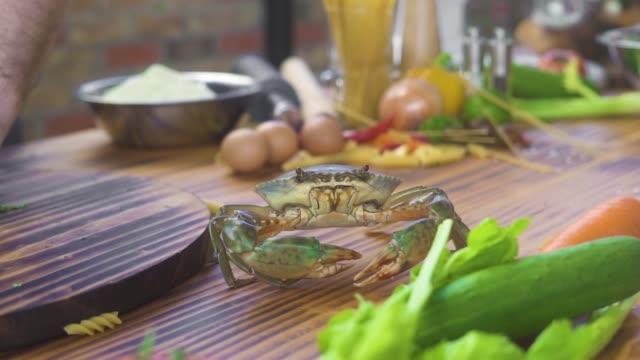 シーフードレストラン。食品成分の背景にキッチンテーブルを這う海のカニ。シーフードレストランのテーブルでカニをライブ。高い料理と豪華な料理。料理のコンセプト - 異国情緒点の映像素材/bロール