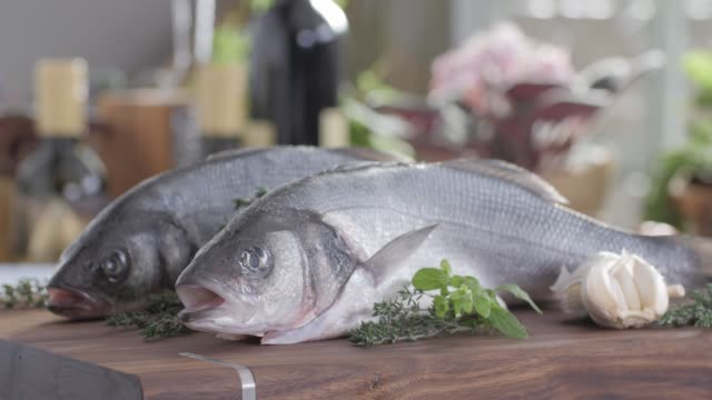 Seafood Sea Bass Fillet. Colorful Cuisine Healthy Food video