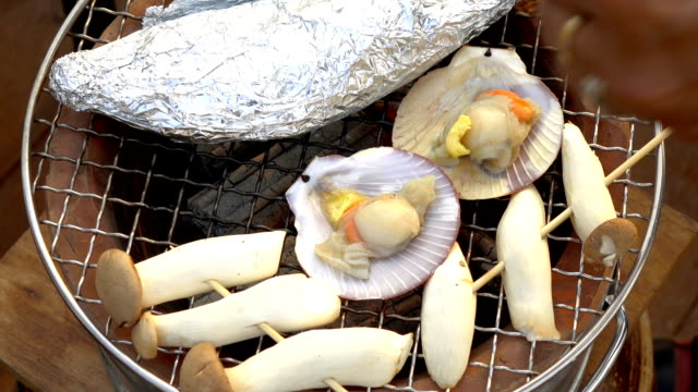 Seafoods hot grilled video