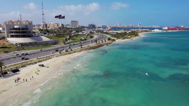 lungomare della capitale della libia, tripoli - libia video stock e b–roll