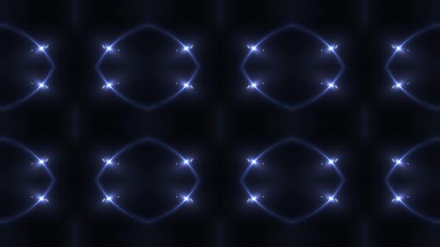 vídeos de stock e filmes b-roll de seamless abstract animation kaleidoscopic light motion background - padrão repetido