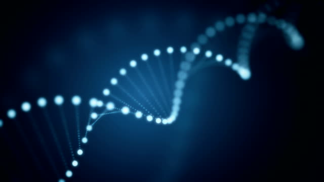 Seamless animation of rotating DNA glowing molecule on blue background