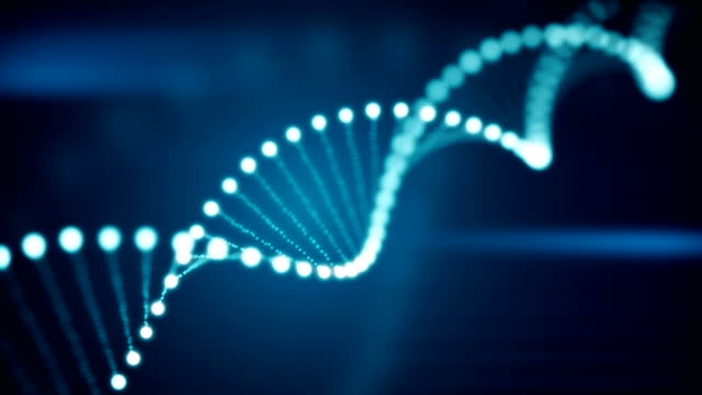 Seamless animation of rotating DNA glowing molecule on blue background video
