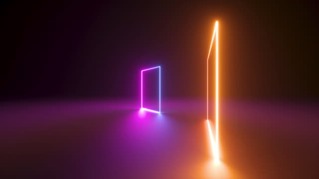 seamless animation, rotating neon square frames, looped abstract neon geometric background, spinning glowing pink yellow violet lines, endless rotation, flight around, fluorescent ultraviolet light