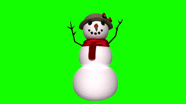 Seamless christmas snowman waving on green background Digital animation of Seamless christmas snowman waving on green background snowman stock videos & royalty-free footage