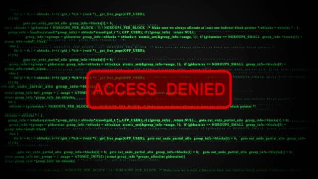 bezszwowy ekran komputera, ostrzeżenie o odmowie dostępu, wideo 4k - negacja filmów i materiałów b-roll