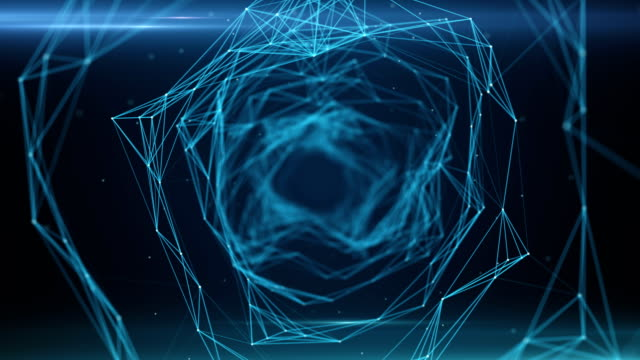 vidéos et rushes de sans soudure battant par digital data tunnel fait de nœuds numériques et chemins de connexion - entonnoir