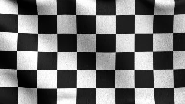 nahtlose schleife 4k vdo. geprüfte flagge. schwarz und weiß quadratische farbe. 3d-rendering-illustration des winkenden zeichens. illusion muster hintergrund. - karo stock-videos und b-roll-filmmaterial