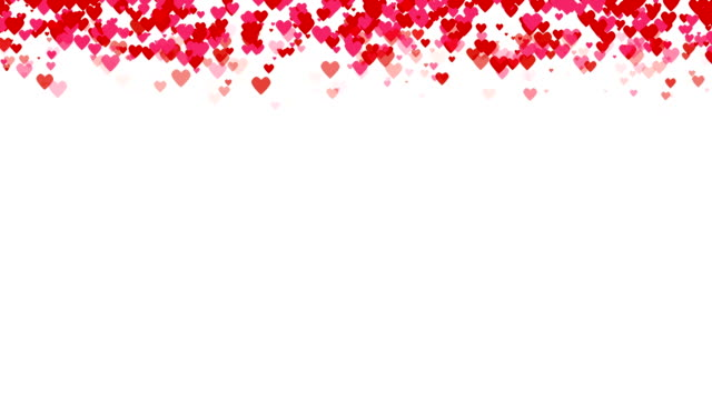 seamless loop background with different colored confetti hearts for valentine time. - valentines day stock videos and b-roll footage