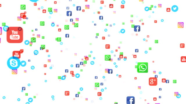 seamless loop editorial animation: flying banners of the most popular social media in the world, such as facebook, instagram, youtube, skype, twitter and others. on a white background. - логотип стоковые видео и кадры b-roll