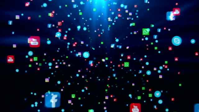 seamless loop editorial animation on a black background. flying banners of the most popular social media in the world, such as facebook, instagram, youtube, skype, twitter and others. - логотип стоковые видео и кадры b-roll