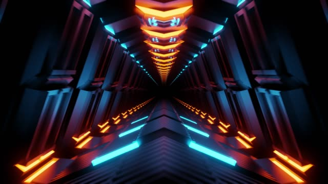 4K seamless loop flying into spaceship tunnel, sci-fi spaceship corridor. Futuristic technology abstract seamless VJ for tech titles and background. Motion graphic for internet, speed. 3D render styles stock videos & royalty-free footage