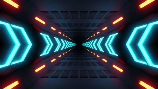 Video 4K seamless loop flying into spaceship tunnel, sci-fi spaceship corridor. Futuristic technology abstract seamless VJ for tech titles and background.
