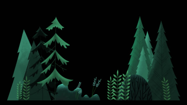 Seamless loop. Group of evergreen trees, grass and bushes swinging in wind.Green misty night. Animated vector illustration with brushes isolated on black background with alpha luma matte. clip art stock videos & royalty-free footage