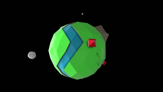 Seamless loop of a 3D low poly fantasy Earth planet with river, mountains and tiny houses with red roofs.