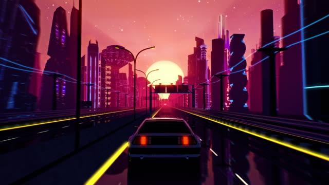 vidéos et rushes de boucle transparente du paysage de coucher du soleil cyberpunk avec une voiture en mouvement sur une route d'autoroute - synthétiseur