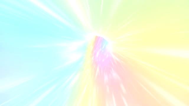 vídeos y material grabado en eventos de stock de lazo sin costuras de viaje interestelar a través de un agujero de gusano arco iris. galaxy fantasía fondo y color pastel. el unicornio en vuelo de túnel en animación espacial cósmica. - unicornio