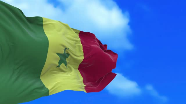 Seamless loop of Senegal flag. Senegal, officially the Republic of Senegal, is a country in West Africa. Senegal is bordered by Mauritania in the north, Mali to the east, Guinea to the southeast, and Guinea-Bissau to the southwest. senegal stock videos & royalty-free footage
