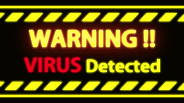 seamless loop virus detect warning alert on black screen. - spyware filmów i materiałów b-roll