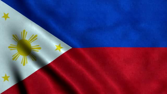 bandiera 4k senza soluzione di continuità delle filippine - filippino video stock e b–roll
