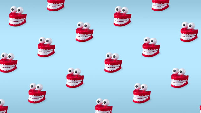 seamless looping animation of chattering teeth toys with big eyes on blue pastel background. patern of plastic red mouths with white fangs is a concept of oral hygiene and healthy teeth
