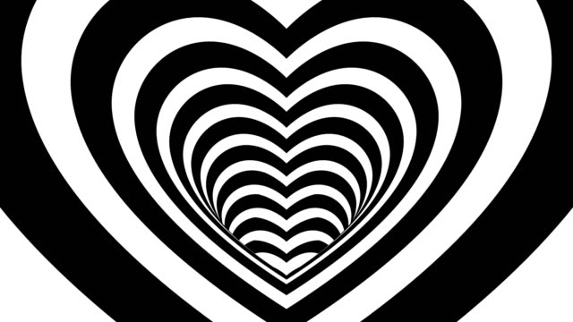 Seamless Looping Black and White Heart Tunnel Animated Background 4k video