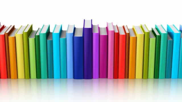 Seamless looping color hardcover books Creative abstract science, knowledge, education, back to school, business and corporate office life concept: 3D render seamless looping 4K video footage of the rainbow color hardcover books isolated on white background with alpha key mask handbook stock videos & royalty-free footage
