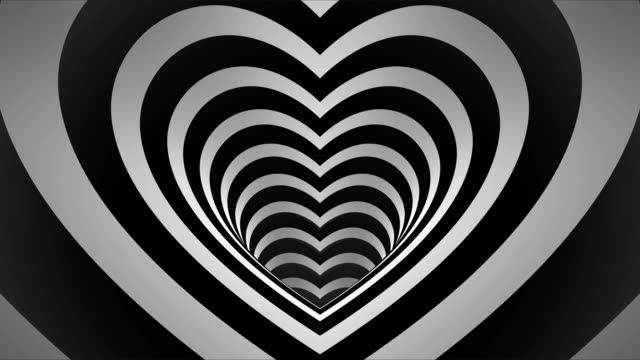 Seamless Looping depth of field 3d style Black and White Heart Tunnel Animated Background 4k monotone