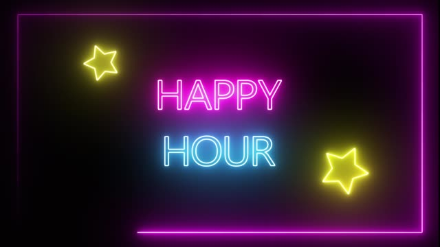 seamless neon happy hour sign for pub, bar, restaurant, and hangout activity shop. - happy hour video stock e b–roll