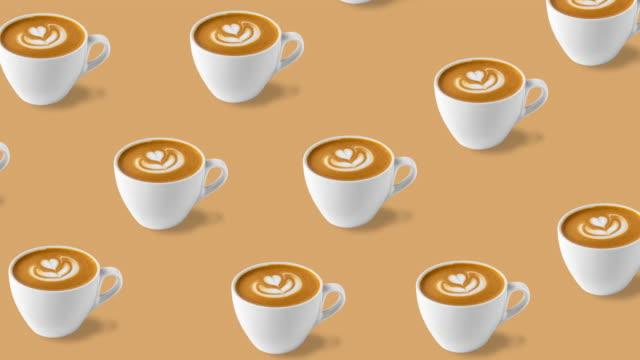 vídeos de stock e filmes b-roll de seamless pattern with many animated coffee cups - padrão repetido