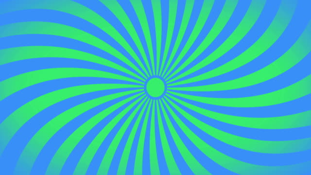 seamless swirling radial vortex background, green and blue color stripes are swirling, 4k video. - opis filmów i materiałów b-roll