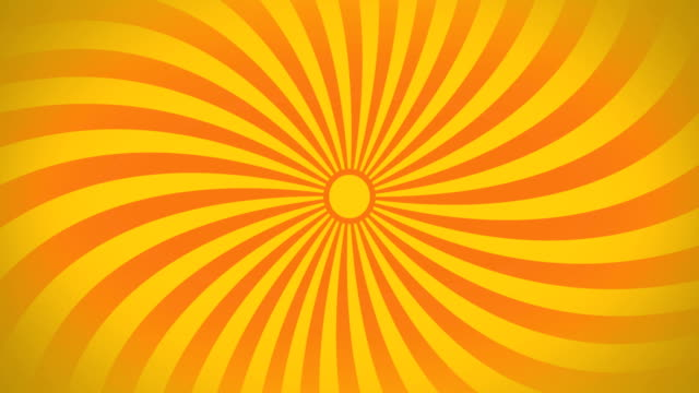 Seamless Swirling Radial Vortex Background, Yellow and Orange Color Stripes Are Swirling.