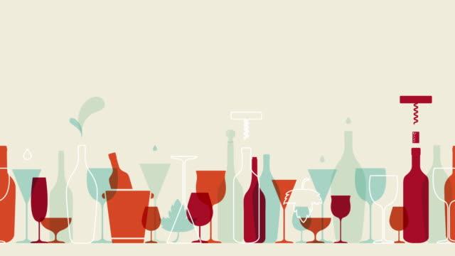 완벽 한 와인 애니메이션 - 와인병 스톡 비디오 및 b-롤 화면